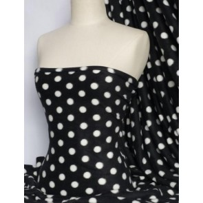 Polar fleece- anti pill washable soft polka dots Q44 BK