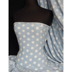 Baby Blue/White Polka Dots Polar Fleece- Anti Pill Washable Soft Q44 BBLWHT