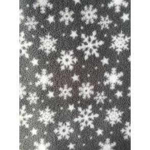 Grey Winter Wonderland Snowflake Polar Fleece- Anti Pill Washable Soft Fabric PPFL42 GRWHT