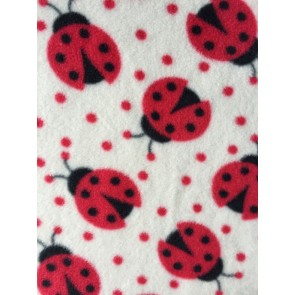 Ladybirds Ivory/Red Polar Fleece Anti Pill Washable Soft Fabric PPFL50 IVRD
