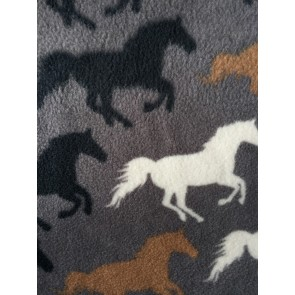 Horse Racing Grey/Multi Polar Fleece- Anti Pill Washable Soft PPFL51 GRMLT