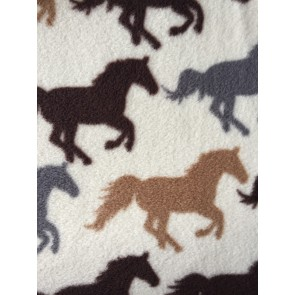 Horse Racing Ivory/Multi Polar Fleece- Anti Pill Washable Soft PPFL51 IVMLT