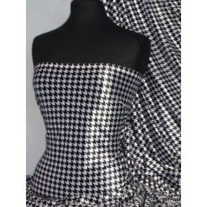 Black/White Dogtooth Velvet Spandex Fabric Luxuriously Soft Velvet Material PVEL25 BKWHT