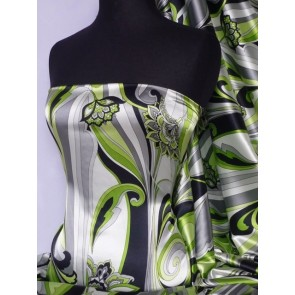 Green Paisley Floral Super Soft Satin Fabric Q1008 GRN