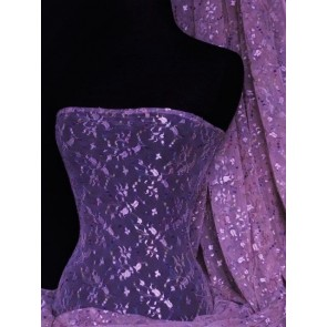 Purple Embroidered Stretch Helenka Mesh Fabric Q1047 PPL