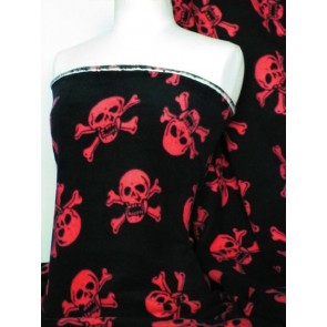 Black/Red Skulls Polar Fleece- Anti Pill Washable Soft Q1082 BKRD