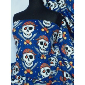 Royal Blue/Black Pirate Skull Polar Fleece- Anti Pill Washable Soft Q1083 RBLBK