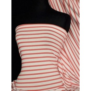 Tomato Red/Cream Stripe Viscose Cotton Stretch Fabric Q1094 TRDCRM