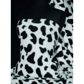 Seconds Black/White Cow Micro Fleece- Anti Pill Washable Fabric SCMF BKWH