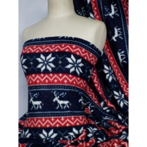 Red/Navy Blue Reindeer Polar Fleece- Anti Pill Washable Soft Fabric Q1116 RDNY