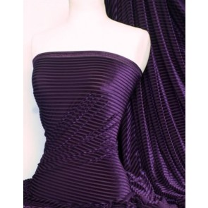 Purple Stripe Velvet / Velour Burnout 4 Way Stretch Spandex Lycra Q1175 PPL