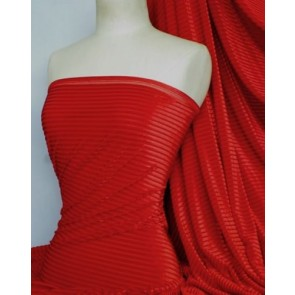 Red Stripe Velvet / Velour Burnout 4 Way Stretch Spandex Lycra Q1175 RD