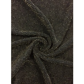Black/Gold Slinky Shimmer 4 Way Stretch Fabric Q1183 BKGD