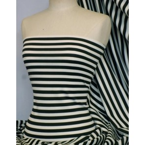 Clearance Black/Ivory Horizontal Stripe Ponte Double Knit 4 Way Stretch Jersey Q1192 BKIV