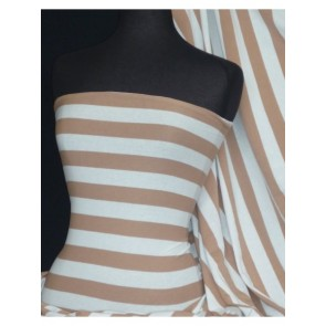 Tan Horizontal Stripe 4 Way Stretch Light Cotton Fabric Q1234 TNWHT
