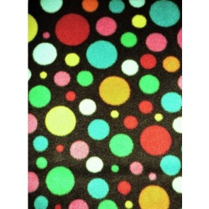 Black/ Multi-Coloured Spot Polka Dots Polar Fleece- Anti Pill Washable Soft Fabric Q1285 BKMLT