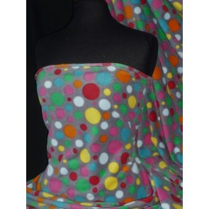 Grey/Multi Polka Dots Polar Fleece- Anti Pill Washable Soft Q1285 GRMLT