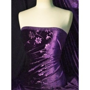 Plum Flower Spandex Velvet Stretch Fabric Q1287 PLM