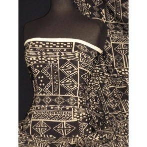 Black/Stone Abstract Knitwear Stretch Fabric Q1311 BKSTN