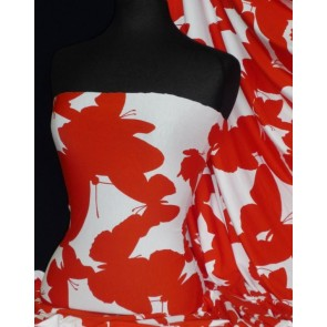 Red / White Butterfly Viscose Cotton Stretch Lycra Fabric Q1314 RDWH