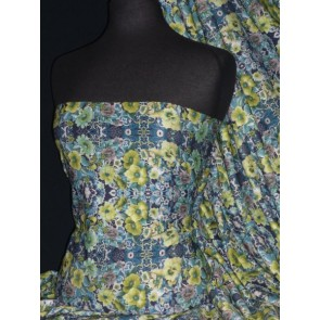 Blue/Lime Green Vintage Floral 100% Viscose Stretch Fabric Q1331 BLLM
