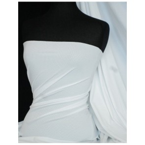 Clearance White Spandex Airtex Mesh 4 Way Stretch Sportswear Fabric By The Metre CLAT WHT