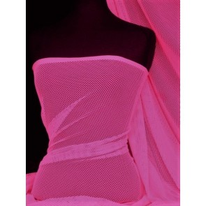 Cerise Pink Fishnet 4 Way Stretch Fabric Material Q1335 CRS