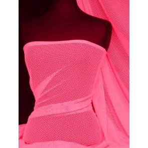 Neon Pink Fishnet 4 Way Stretch Fabric Material Q1335 NPN