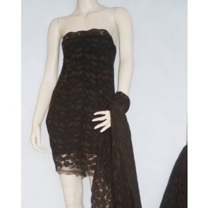 Brown Scalloped Corded Lace 4 Way Stretch Lycra Fabric Q1349 BR