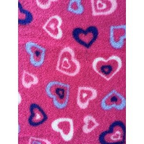 Pink Love Heart Fest Polar Fleece Anti Pill Washable Soft Fabric Q1400 CRS