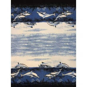 Border Print Dolphins Polar Fleece Anti Pill Washable Soft Fabric Q1410 BLBK