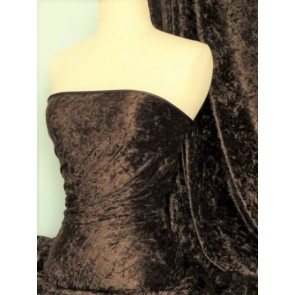 Clearance Brown Crushed Velvet/ Velour Stretch Fabric SQ195 BR