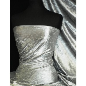 Cloud Grey Crushed Velvet/ Velour Stretch Fabric Q156 CGR