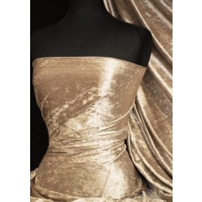Champagne Crushed Velvet/ Velour Stretch Fabric Q156 CHAMP