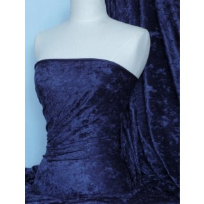 Dark Navy Crushed Velvet/ Velour Stretch Fabric Q156 DNY