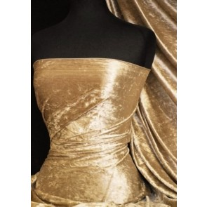 Golden Sand Crushed Velvet/ Velour Stretch Fabric Q156 GSND