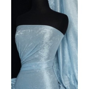 Ice Blue Crushed Velvet/ Velour Stretch Fabric Q156 ICEBL