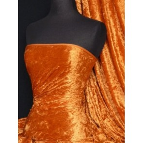 Orange Crushed Velvet/ Velour Stretch Fabric Q156 OR