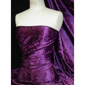 Purple Crushed Velvet/ Velour Stretch Fabric Q156 PPL
