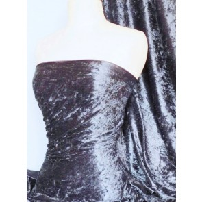 Steel Grey Crushed Velvet/ Velour Stretch Fabric Q156 STLGR