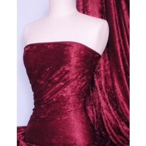Wine Crushed Velvet/ Velour Stretch Fabric Q156 WN