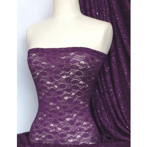Purple Lace Hologram Sequins Stretch Fabric Q1 PPL