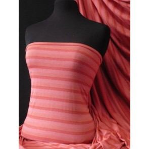 Stripe Coral 100% Viscose Stretch Fabric Material Q240 CRL