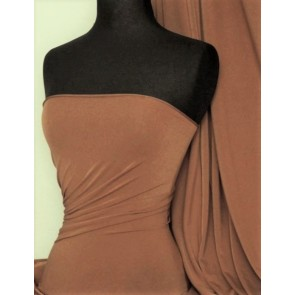 Mocha 4 Way Stretch Micro Lycra Jersey Fabric Q259 MCH