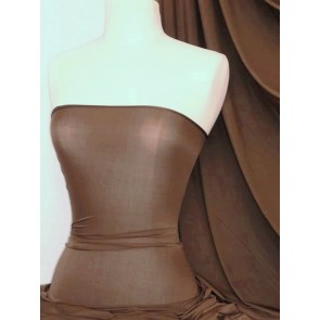 Dark Mocha Diabolo Shiny Lycra 4 Way Stretch Fabric Q262 DKMCH