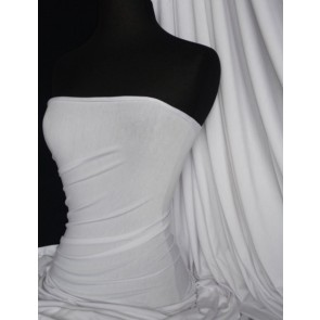 White Viscose Cotton Stretch Lycra Fabric Q300 WHT