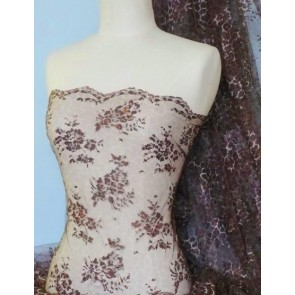Brown Leopard Flounce Scalloped Lace Fabric Q333 BRN