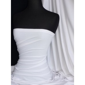 Pure White Cotton Lycra Jersey 4 Way Stretch Material Q35 WHT