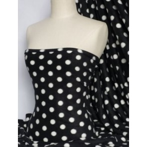 Black/White Polka Dots Polar Fleece- Anti Pill Washable Soft Fabric Q44 BKWHT