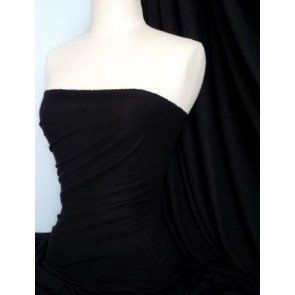 Black Suede Look Stretch Fabric Material Q503 BK